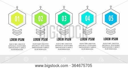 Hexagon Infographic Design Template With 5 Options And Arrows. Vector Line Business Concept. Can Be