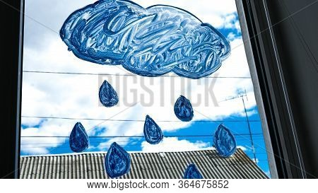 A Bright Painted Clouds And Drops On The Window, From The Window You Can See A Beautiful Blue Sky Wi