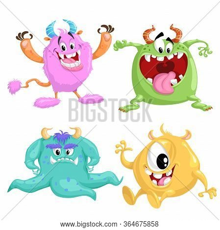 Cartoon Cute Monsters Set. Vector Drawing For Halloween And Monsters Party's. Smiling Aliens In Flat