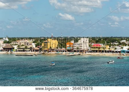 San Miguel De Cozumel, Mexico - April 25, 2019: Cityscape Of The Main City In The Island  Of Cozumel