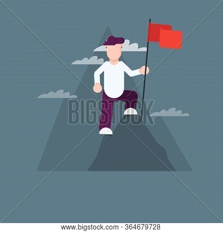 Man With A Flag On Top Of A Mountain. Man Overcomes Challenges. Successful Challenge Concept, New Ac