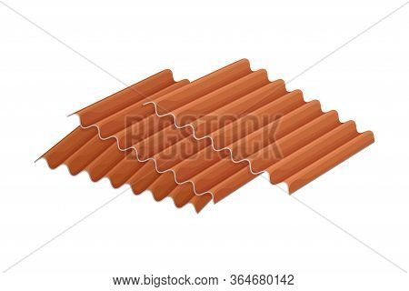 Pile Of Roof Tile Or Cover Tile Isolated On White Background Vector Illustration