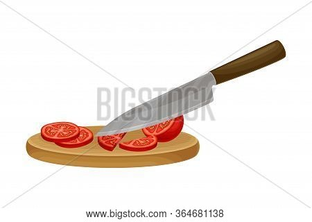 Knife Slicing Tomato On Cutting Board As Ingredient For Bruschetta Preparation Vector Illustration