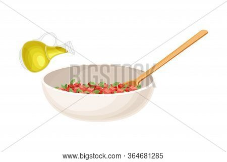 Bowl With Cut Vegetables And Herbs As Ingredient For Bruschetta Preparation Vector Illustration