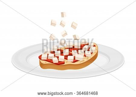 Toast Bread Slice With Meat And Cheese Rested On Plate As Bruschetta Preparation Vector Illustration