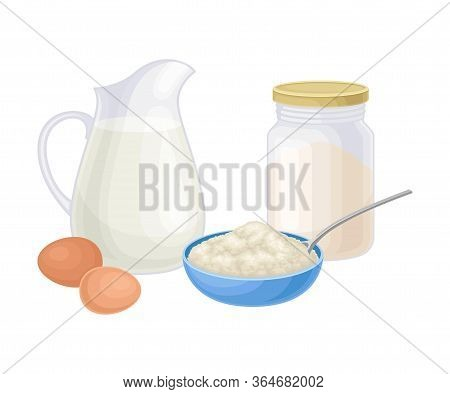 Ingredients For Cooking Pancakes With Flour And Jar Of Milk Vector Illustration