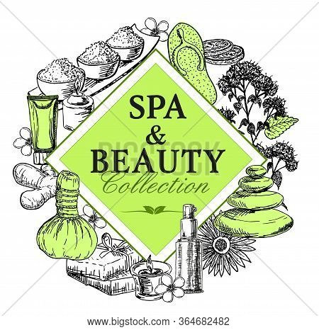 Vector Design With Hand Drawn Spa Illustration Isolated On White. Spa Sketch Background With Natural