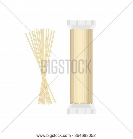 Spaghetti In Packaging And In Bulk On A White Background. Food, Ingredients. Vector Illustration