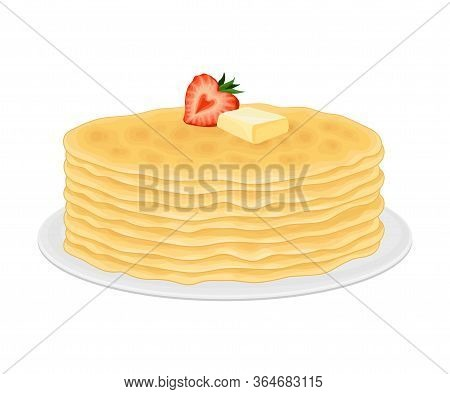 Pile Of Pancakes Or Crepe Served On Plate With Butter Slab On Top Vector Illustration