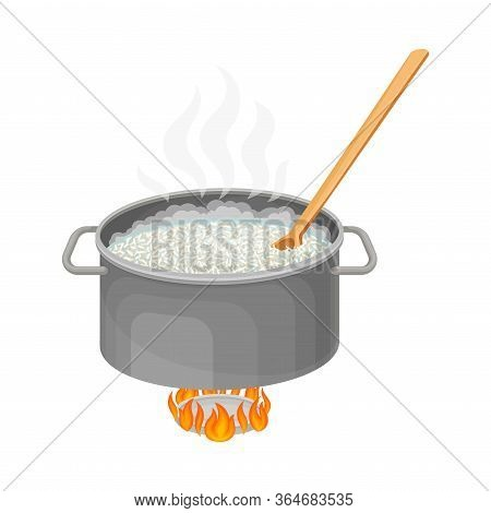 Cooking Rice Process With Mixing Grain In Saucepan Standing On Burner Vector Illustration