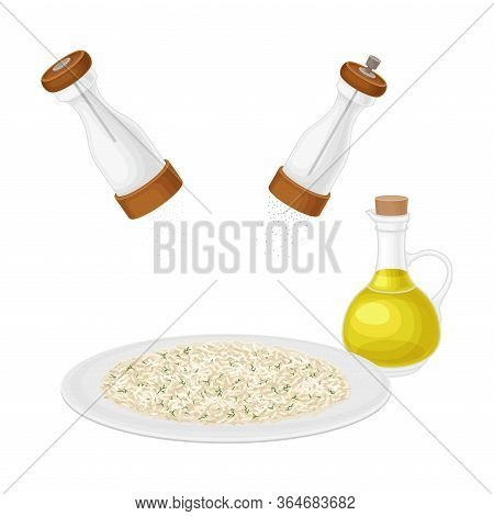 Cooked Hot Rice Dressing With Salt And Pepper Vector Illustration