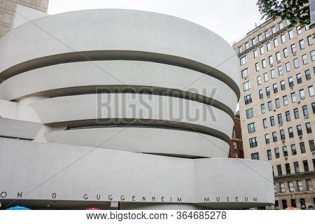 New York City, USA - September 6, 2019: Solomon R. Guggenheim Museum facade ay day time