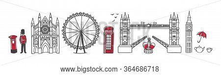 Vector Illustration Symbols Of London, The Uk. Famous English Landmarks In The Row. Doodle Tower Bri