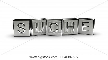Metal Suche Text (isolated On White Background) 3d Rendering