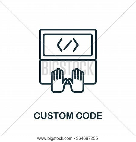Custom Code Icon From Production Management Collection. Simple Line Custom Code Icon For Templates,