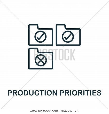 Production Pririties Icon From Production Management Collection. Simple Line Production Pririties Ic