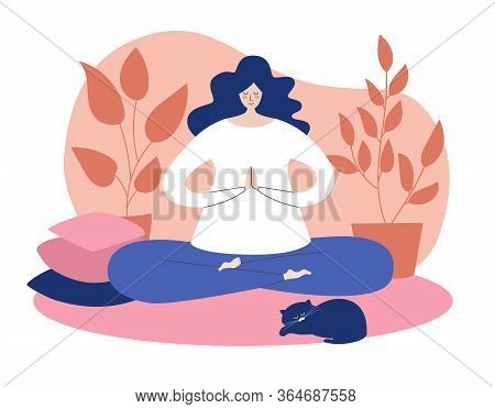 Woman Meditating Calmly At Home. Young Lady Sitting On The Carpet And Doing Yoga. Vector Illustratio