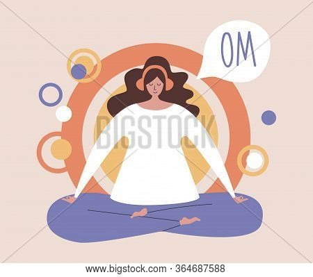 Woman Meditating In The Lotus Position And Saying Om. Girl With The Headphones Practising The Guided