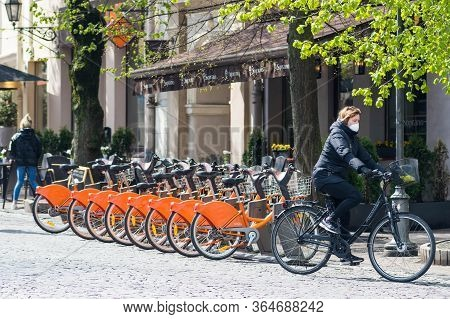 Vilnius, Lithuania - May 3 2020: Sustainable Transport. Row Of Bikes Parked For Hire In The Old Town