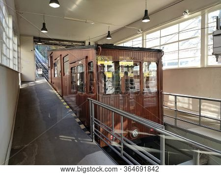 Stuttgart, Germny - November 10, 2019: Ancient Brown Funicular Cable Car In The Lower Station In The