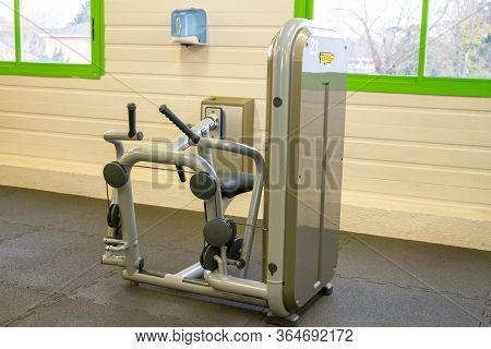 Bordeaux , Aquitaine / France - 04 16 2020 : Technogym Pure Row Activate The Latissimus Dorsi Biceps