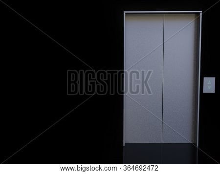 3d Rendering Of An Elevator Or Lift With Black Background. Copyspace For Your Message!