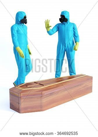 3d Rendering Of Two People Wearing Blue Hazmat Suits Standing Beside A Coffin Containing A Covid-19
