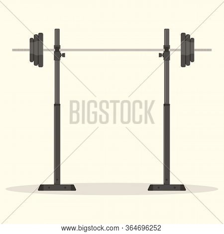 Gym Equipment For Training: Power Plant With A Barbell For Playing Sports.weight Plate For Sporting.