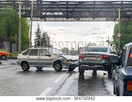 03.05.2020 Russia Rostov-on-don. Car Accident On The Road After A Rain. Not Lost Control. Road Trans