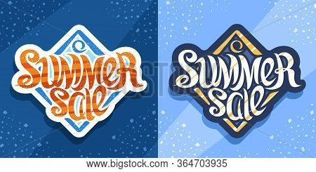 Vector Lettering Summer Sale, Cut Paper Logo With Curly Calligraphic Font On Blue Abstract Backgroun