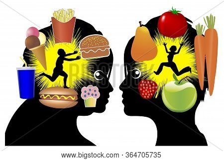 Different Food Cravings. Eating Desires Change With Weight Loss, From Unhealthy To Health Food.