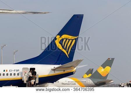 Airport, Palma, Mallorca, Spain, 2019 April 14 - Passengers Boarding On Ryanair Flight