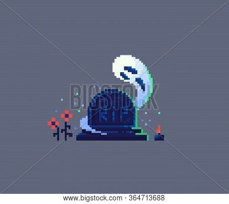 Pixel Art Tombstone And Ghost. Old Gravestone Item For Game Design. Vector Illustration.