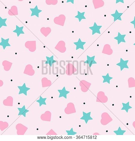 Romantic Seamless Pattern With Scattered Hearts, Stars And Round Spots. Cute Endless Print. Flat Gir