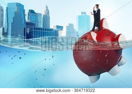 Student debt concept with piggybank and student