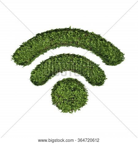 Ivy Plant With Leaves, Green Creeper Bush And Vines Forming Wifi Or Wireless Internet Sign Symbol Is