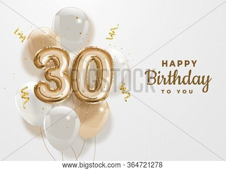 Happy 30th Birthday Gold Foil Balloon Greeting Background. 30 Anniversary Logo Template- 30th Celebr