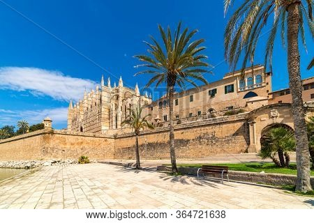 Famous Cathedral of Santa Maria under blues sky as seen from Parc de la Mar in Palma, Spain.