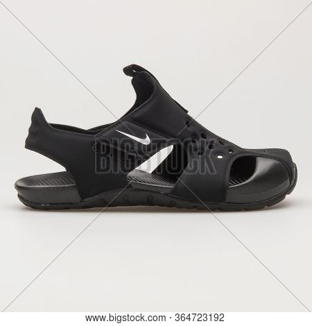 Vienna, Austria - May 27, 2018: Nike Sunray Protect 2 Black And White Sandal On White Background.