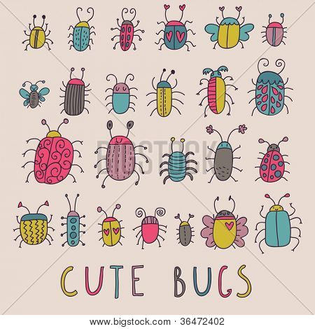 Cute bugs. Cartoon insects in vector set