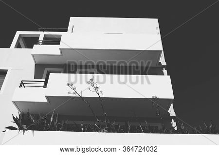 Black And White Picture Of A Greek Vacation House
