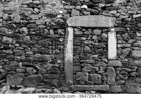 Old Concrete Walled Door In San Felices.