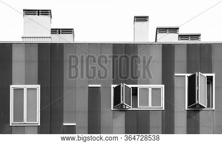 MADRID, SPAIN – MAY 13, 2018: A close look of a apartment building in Madrid in Spain
