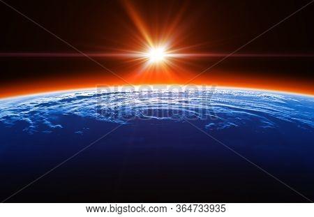 Beautiful Sunrise On The Background Of Big Hurricane. 3d Illustration.