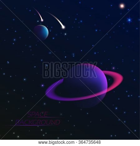 Space Concept. Planets And Falling Meteorites In The Star Sky. Dark Abyss. Vector 3