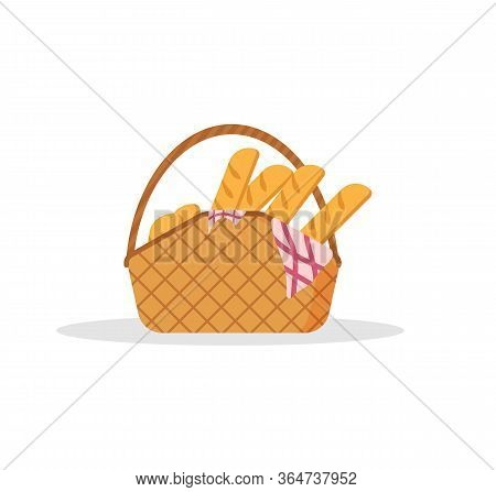 The Collection Of Picnic Baskets Is Full Of Delicious Fruits And Bread For Al Fresco Dining. Set Of