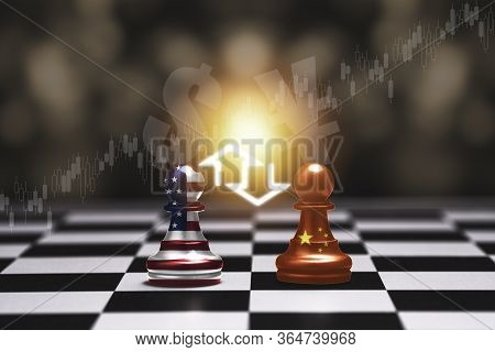 Usa Flag And China Flag Print Screen On Pawn Chess With Bokeh And Stock Chart Background.it Is Symbo