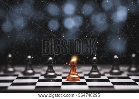 Red Pawn Chess Stepped Out Of Line To Leading Black Chess And Show Different Thinking Ideas. Busines