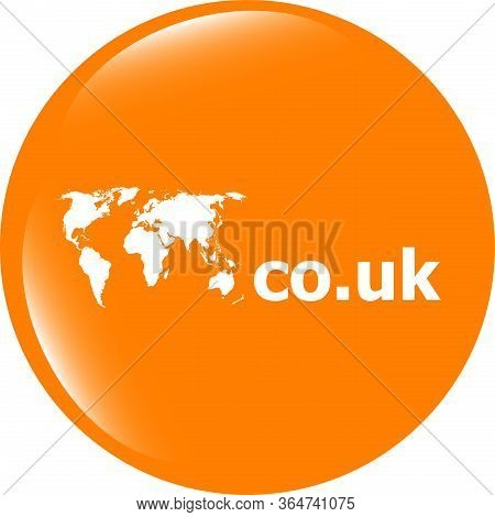Domain Co.uk Sign Icon. Top-level Internet Domain Symbol With World Map