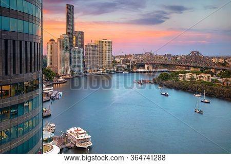 Brisbane. Cityscape Image Of Brisbane Skyline, Australia During Sunset.